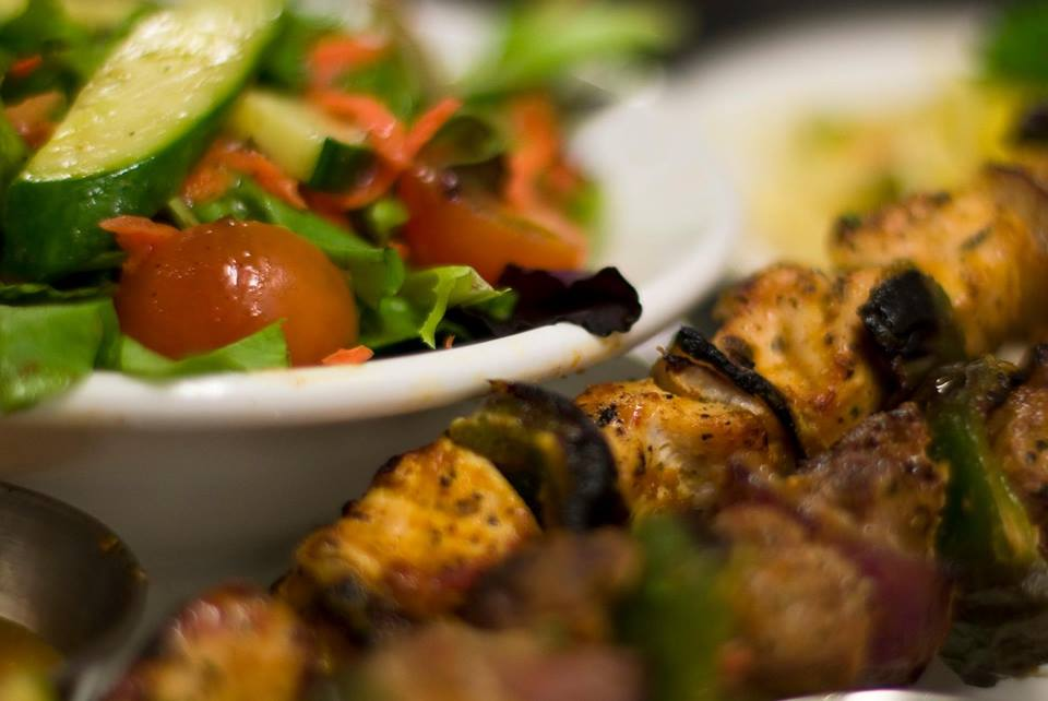 Charqui Chicken kebab with fresh salad